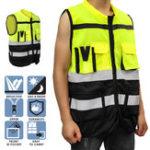 New Safety Vest Reflective Driving Jacket Night Security Waistcoat + Pockets
