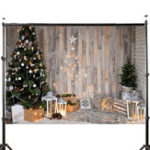 New 7x5FT Christmas Tree Gifts Wooden Wall Photography Backdrop Studio Prop Background