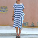 New Women Short Sleeve Striped Asymmetric Loose Vintage Dress