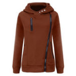 New Women Solid Color Side Zipper Hooded Long Sleeve Sweatshirt