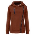 New Women Solid Color Side Zipper Hooded Long Sleeve Sweatshirt
