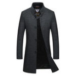 New Men Mid Long Slim Woolen Coat Thickened Warm Trench Overcoat