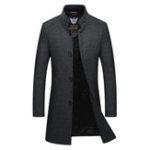 New Men Mid Long Slim Woolen Coat Thickened Warm Trench Overcoat