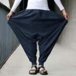 New Mens Casual Cotton Linen Solid Color Baggy Loose Harem Pants