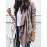 New Women Autumn Long Sleeve Solid Color Irregular Coats