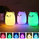 New LED Small Night Light Sleeping Lamp Baby Room Rabbit Bear Light Kids Bed Lamps Remote Control