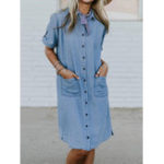 New Plus Size Casual Turn-down Collar Front Pockets Shirt Dress