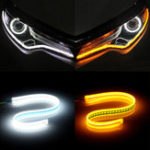 New Ultra Thin Guide Strip White Daytime Running Lights Amber Turn Lamp Switchback Sequential 2Pcs