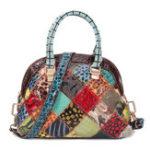 New Women Genuine Leather Bohemian Floral Handbag