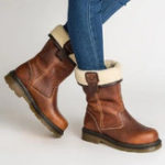 New Large Size Round Toe Slip On Vintage Mid Calf Boots
