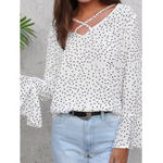 New Women Polka Dot V Neck Long Ruffled Sleeve Blouse