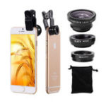 New Bakeey Universal Clip Camera Lens 0.67 Wide Angel+180 Degree Fish Eye+Macro For Mobile Phone Tablet