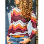 New Women Casual Striped Print Long Sleeve Blouse