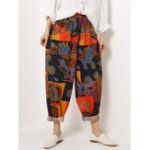 New Ethnic Floral Print Elastic Waist Pockets Pants