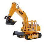 New LCF 338 1/20 2.4G 16CH Rc Excavator Digger Truck W/ Sound Smoke LED Light Engineer Truck Toy