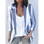 New Women Long Sleeve Stripe Office Outerwear Blazers