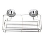 New Stainless Steel Shower Storage Suction Cups Caddy Shelf Wall Mounted Bathroom Kitchen Storage Rack