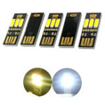 New 5 Pcs USB Mini Night Light Portable 3 LED Touch Stepless Dimming / Light-controlled Night Card / General Emergency Light Flashlight