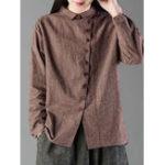 New Vintage Turn-down Collar Long Sleeve Plaid Button Shirts