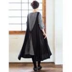 New Women Muti-Way Japanese Style Cotton Solid Apron Dress
