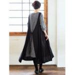 New Women Muti-Way Japanese Style Cotton Solid Apron Dress