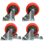 New 4Pcs Heavy Duty 100mm Rubber Rotate Castor Wheels For Trolley Furniture Caster