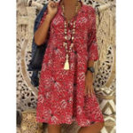 New Vintage Women Bohemia Print V-Neck 3/4 Sleeve Dress