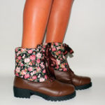 New Plus Size Cuffed Casual  Lace Up Flowers Mid Calf Boots