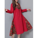 New Vintage Women Cotton Linen Elegant Patchwork Hooded Dress