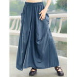 New Pure Color Elastic Waist Swing Hem Skirts