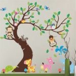 New Wall Stickers Elephant Owl Tree Birds Monkey Zoo Baby Vinyl Decal Decor Nursery Removable Wall Sticker