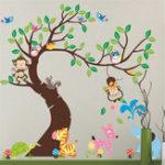 New Wall Stickers Elephant Owl Tree Birds Monkey Zoo Baby Vinyl Decal Decor Nursery Removable Wall Sticker