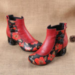 New Retro Genuine Leather Butterfly Ankle Boots