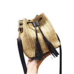 New Women Leisure Straw Bag Chic Bucket Bag Crossbody Bag