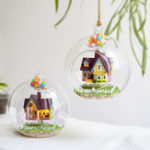 New 3D DIY Miniature Glass Ball Dollhouse LED Sound Control Light Doll House Creative Christmas Gift