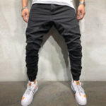 New Mens Casual Drawstring Elastic Waist Cargo Pants