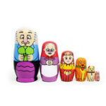 New 6PCS Russian Wooden Nesting Doll Happy Family Handcraft Decoration Christmas Gifts