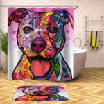 New 180 x 180CM Bathroom Shower Curtain Graffiti Dog Pattern Print Waterproof Polyester Shower Curtain
