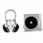 New Unisex Musical Instrument CD Earphones Stereo Cufflinks