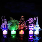 New Santa Claus Multi Color LED Light Clear Acrylic Christmas Tree Mood Lamp Christmas Decoration Toys