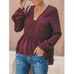 New Women Casual Loose Pure Color V-Neck Lace Chiffon Blouse