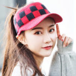 New Women Warm Grid Knit Ponytail Hat Riding Sport Golf Cap