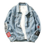 New Men Denim Coats Spring Autumn Casual Turn Down Collar Jacket