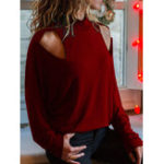 New Women Casual Solid Color Long Sleeve Pullover Blouse