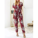 New Women Casual V-Neck Floral Print Short Sleeve Jumpsuit