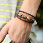 New Vintage Leather Wave Braid Bracelet