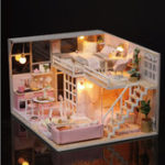 New Cuteroom L025 DIY Doll House Girlish Dream Miniature Furniture With Light Music Cover Gift Decor