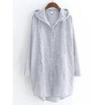 New L-5XL Casual Women Loose Button Irregular Hem Hooded Shirts