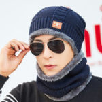 New Men Women Warm Plush Thicken Knit Beanie Hat with Scarf