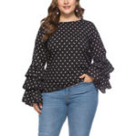 New Plus Size Polka Dot Ruffles Long Sleeve Women Blouse